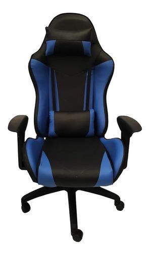 Silla De Escritorio Mrb Dg Gamer Pro Basic Gamer  Negra Y Azul Con Tapizado De Cuero Sintético