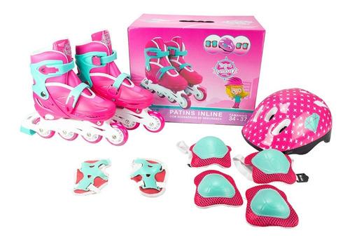 Kit Patins Completo Roller Infantil Inline Menina 34 Ao 37