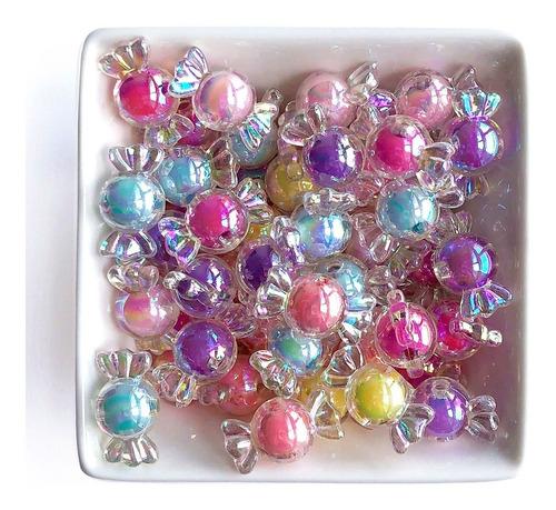 Miçanga Bala Candy Color P/ Pulseira Infantil, 25 Pçs