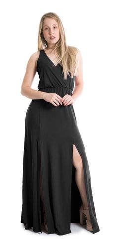 Vestido Longo Decote Transpassado Com Fendas Lynnce