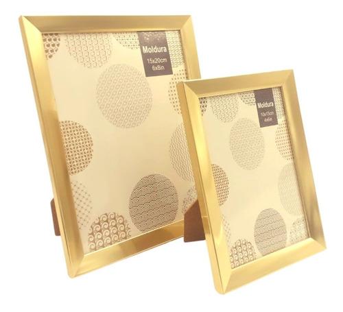 2 Porta Retratos Gold Sala Quarto Tendência 10x15 15x20