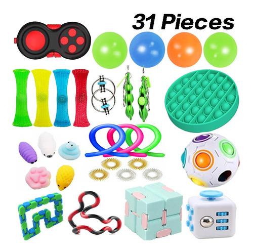 31pcs Fidget Cube Anti Stress Toy Rubik Cube Ball
