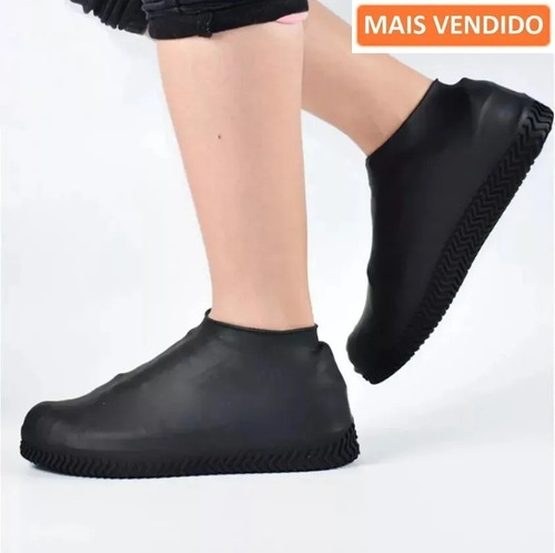 Capa Chuva Sapato Tenis Moto Protetor Silicone Calçado Kit2