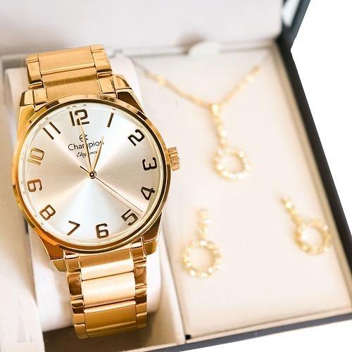 Relógio Champion Feminino Quadrado Dourado + Colar E Brincos