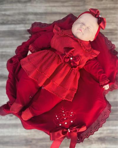 Saída De Maternidade Vermelha Menina