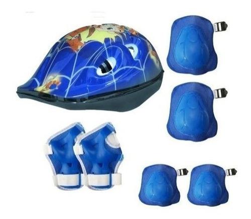 Kit Proteção Infantil Capacete Bike Skate Patins Azul
