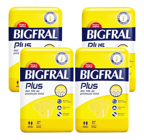 Kit C/4 Pt Fralda Bigfral Plus P M G Xg Adulto Geriátrica