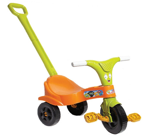 Triciclo Infantil Motoca Laranja Menino C/ Empurrador