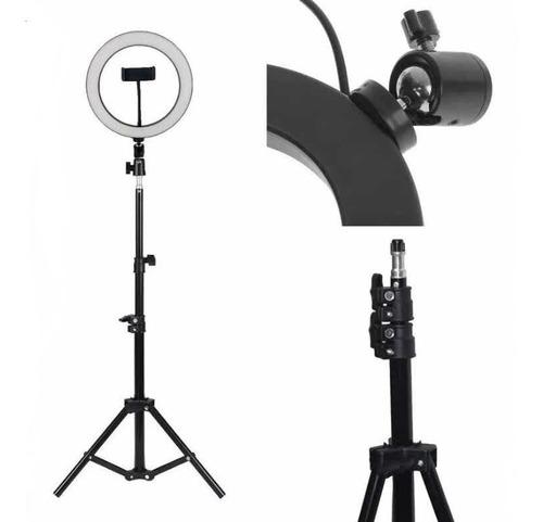 Iluminador Ring Ligth Anel Luz 26cm Make Fotos Com Tripé 1.60 Kit Completo Dimmer Selfie Youtuber Blogueiro Maquiagem
