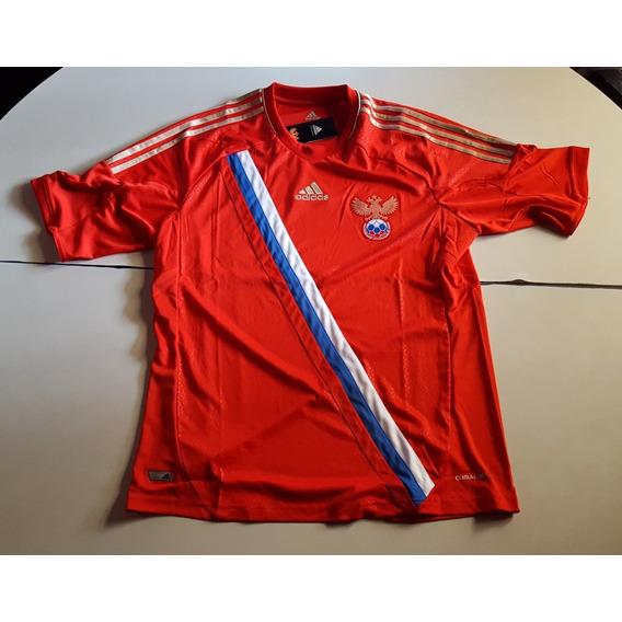 Camiseta De Rusia Roja Con Banda Marca adidas, Talle M