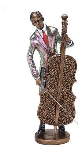 Escultura Músico Jazz 36 Cm Violoncelo - Espressione