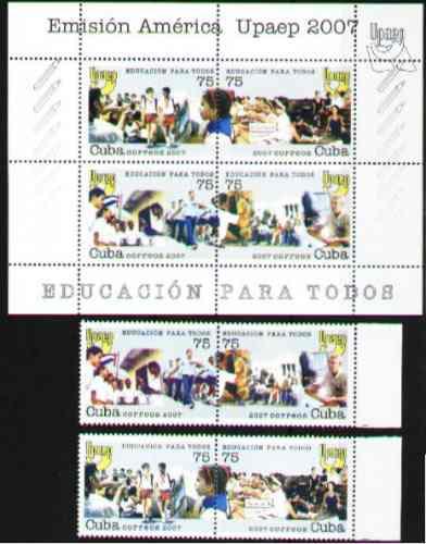 Cuba 2007 - América Upaep: Educación - 4v + H.b.