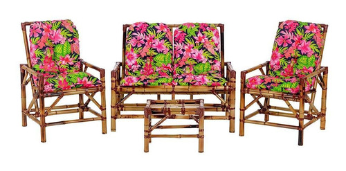 Conjunto Sofá Poltronas E Mesa De Bambu