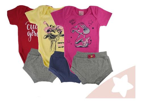 Kit Conjuntos 3 Roupas Bebê Menina Verão Body Tipo Carters