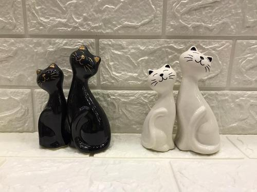 Escultura 2 Gatos Branco E Preto Luxo