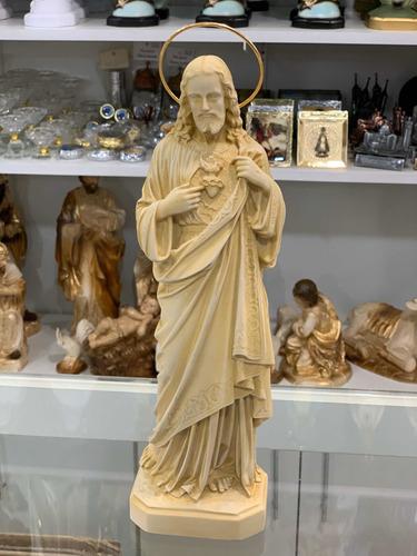 Sagrado Coração De Jesus 31cm - Resina (marfim) C/ Auréola