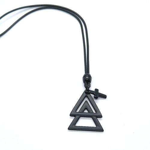Colar Cordão Masculino Triângulo E Crucifixo Regulável
