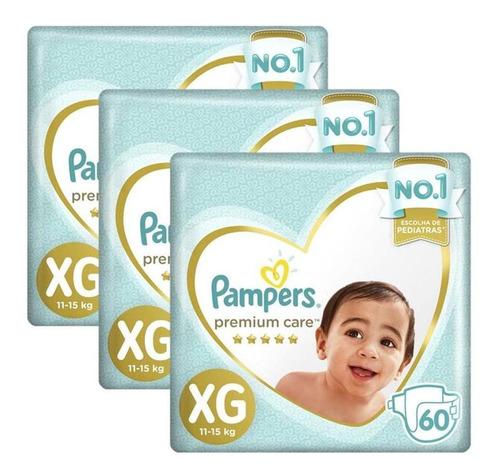 Kit Fralda Pampers Premium Care Nova Jumbo Xg 180 Unidades