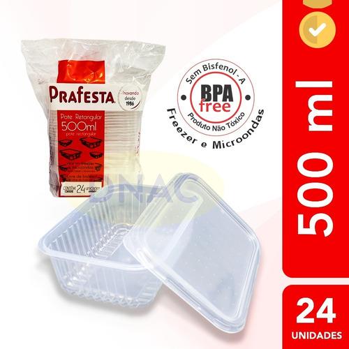 Pote Descartável 500ml Freezer Microondas Marmita - 24 Un.