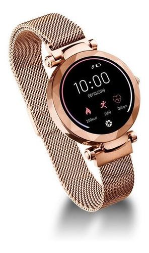 Relógio Smartwatch Dubai Rose E Dourado Android/ios Atrio