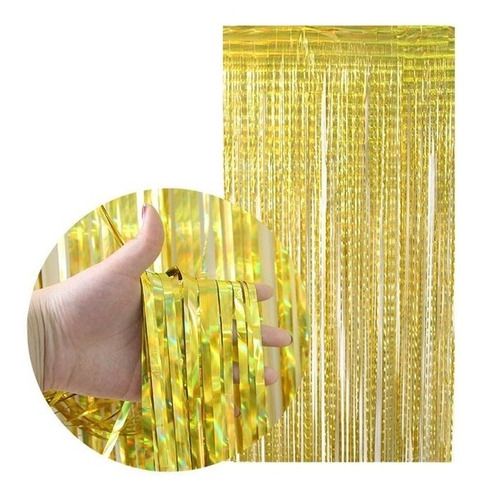Cortina Holografica Dorada Gold Lluvia Oro Feliz Cumpleaños