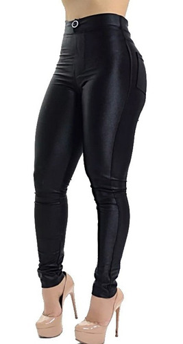 Calça Disco Hot Pants Cintura Alta Legging Com Bolso
