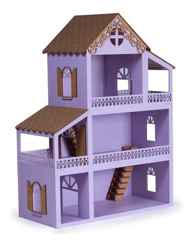 Casa Casinha De Boneca Lilás Mdf Personalizada Montada