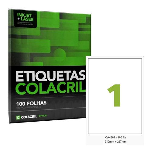 Etiqueta Impressora A4 210 X 297mm 100 Fls Ca4367 Colacril