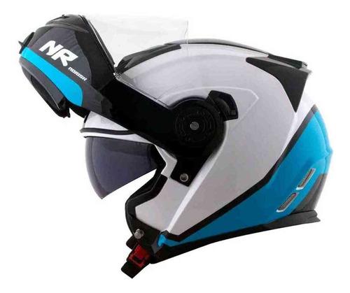 Capacete Norisk Articulado Ff 345 Chance Branco Azul Robocop