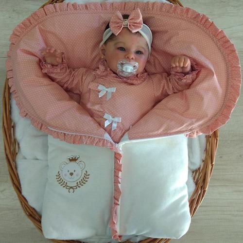 Saída De Maternidade Menina Ursinha Poá Com Porta Bebê