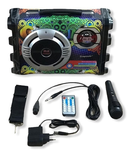 Caixa De Som Ecopower Karaoke Bluetooth E Mp3 - Ep-2220