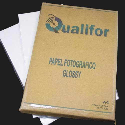 100 Folhas Papel Foto Glossy 135g A4 Brilho Prova D'água