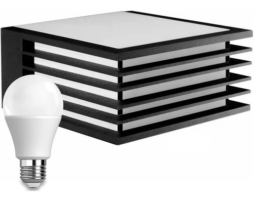 Aplique De Pared Exterior Con Lámpara Led Bco/gris/negro