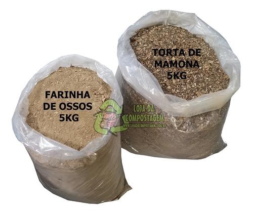Kit Farinha De Osso Torta De Mamona Adubo Plantas 5kg Cada