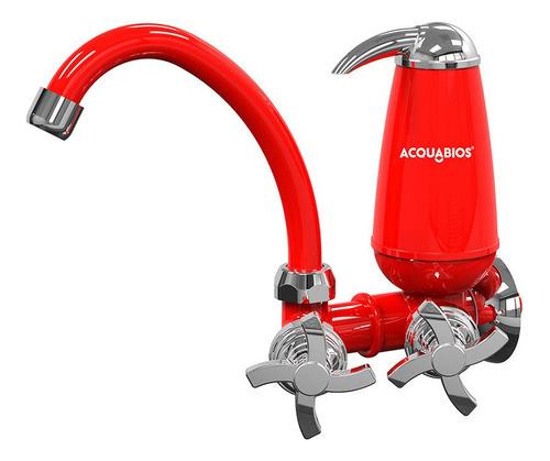 Torneira Com Filtro Bica Móvel Vermelha Quadriseta Acquabios