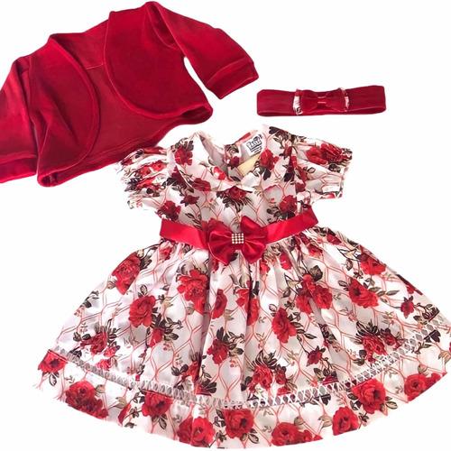 Vestido De Bebe C/ Bolero E Tiara 100% Algodão