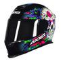 Capacete Para Moto Integral Axxis Helmets Eagle Skull Black E Blue Tamanho L