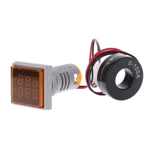 Voltimetro E Amperímetro Quadrado 22 Mm Ac 60-500v 100a