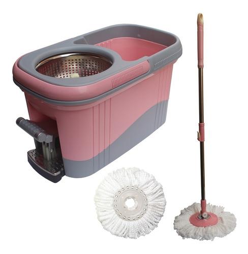 Kit Balde Spin Mop 360 Inox Com Pedal Aluminio Completo Rosa