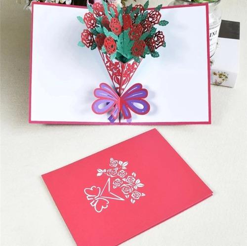 Cartão 3d Buquê Flores Aniversário, Amizade, Amor