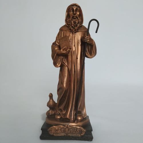 Imagem São Bento. 15cm. Cor: Bronze. Resina