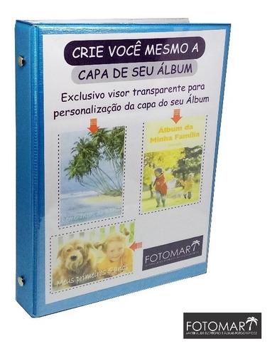 Álbum 80 Fotos 15x21  Capa Personalizável  -linho Azul-