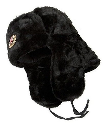 Sombrero Ruso Ushanka Black-60 Soldado Del Ejército Soviétic