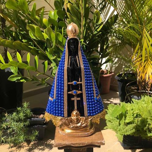 Nossa Senhora Aparecida 40cm Perola Azul Centro Preto Gesso