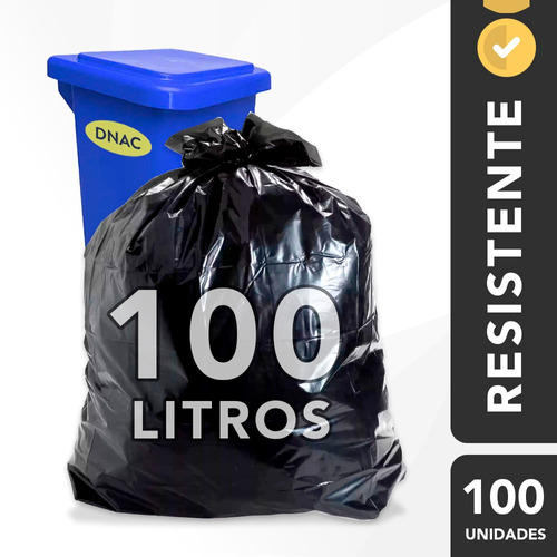Saco De Lixo 100l Grosso Preto Reforçado Resistente - 100 Un