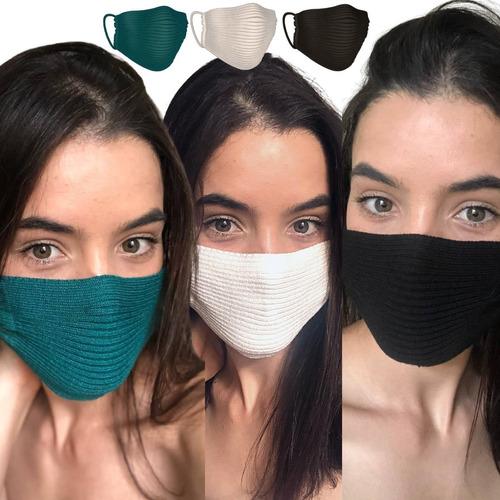 3 Máscaras Tricô Crochê Tricot Canelado Nude - Envio Hoje!