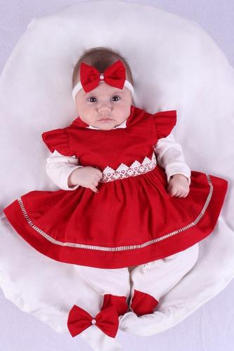 Saída De Maternidade Menina Alice Vermelho 04 Peças Verde