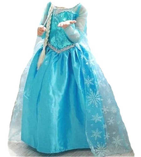 Vestido Infantil Fantasia Frozen Princesa Elsa Longo