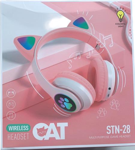 Fone Gatinho Sem Fio Com Led Bluetooth Infantil Meninas Gato