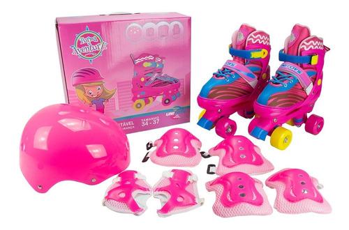 Roller Patins Infantil Rosa Quad 4 Rodas Rosa +proteção